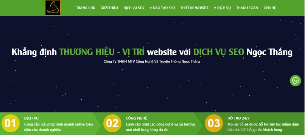 Hình ảnh website dịch vụ Seo chuyên nghiệp Ngọc Thắng